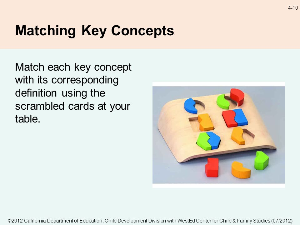 ©2012 California Department of Education, Child Development Division with WestEd Center for Child & Family Studies (07/2012) 4-10 Matching Key Concept