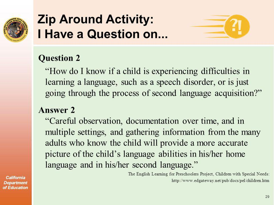 California Department of Education Zip Around Activity: I Have a Question on... Question 2 How do I know if a child is experiencing difficulties in le