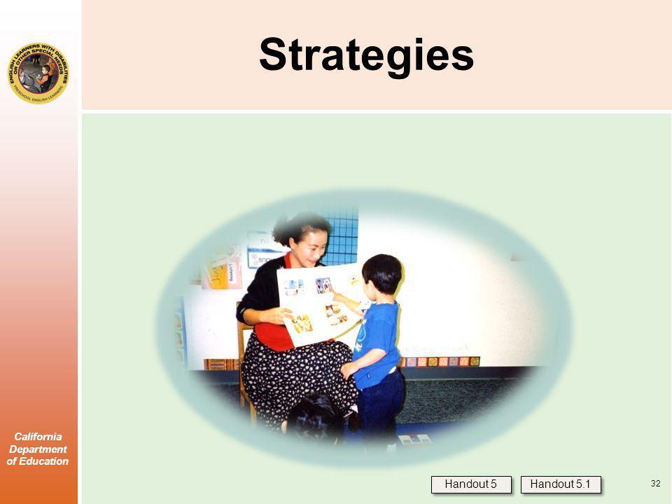 California Department of Education Strategies Handout 5 Handout 5.1 32