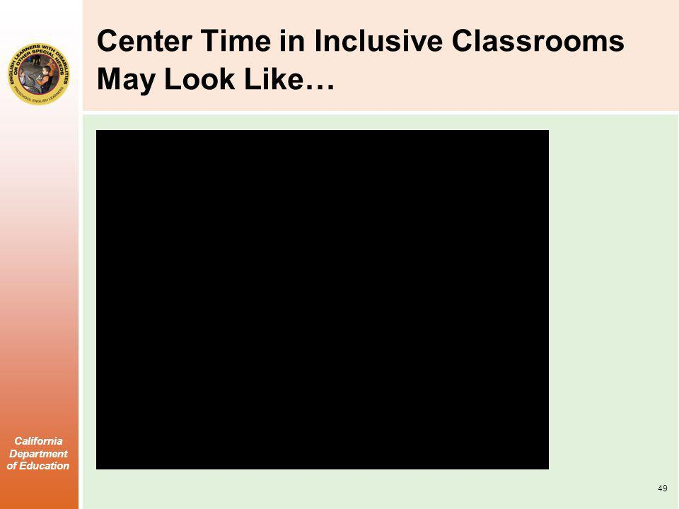 California Department of Education Center Time in Inclusive Classrooms May Look Like … 49