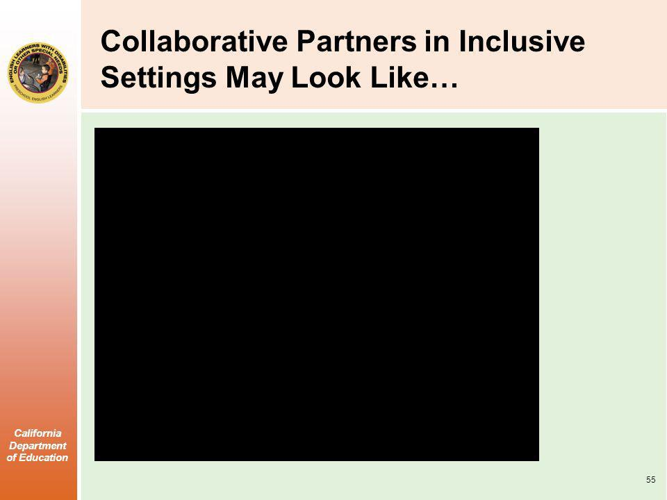 California Department of Education Collaborative Partners in Inclusive Settings May Look Like… 55