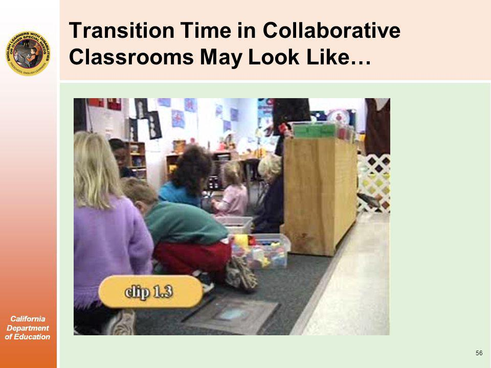 California Department of Education Transition Time in Collaborative Classrooms May Look Like… 56