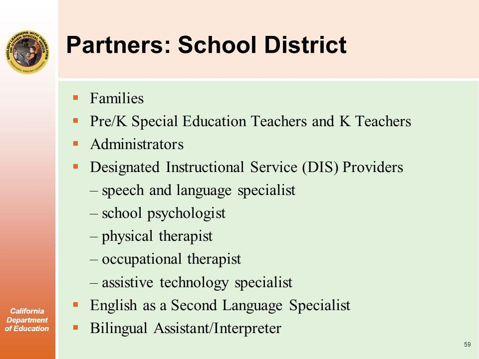 California Department of Education Partners: School District Families Pre/K Special Education Teachers and K Teachers Administrators Designated Instructional Service (DIS) Providers – speech and language specialist – school psychologist – physical therapist – occupational therapist – assistive technology specialist English as a Second Language Specialist Bilingual Assistant/Interpreter 59