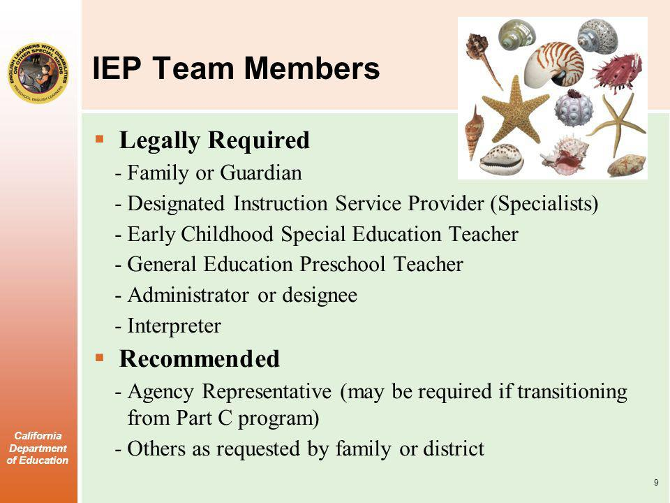 California Department of Education IEP Team Members Legally Required -Family or Guardian -Designated Instruction Service Provider (Specialists) -Early Childhood Special Education Teacher -General Education Preschool Teacher -Administrator or designee -Interpreter Recommended -Agency Representative (may be required if transitioning from Part C program) -Others as requested by family or district 9