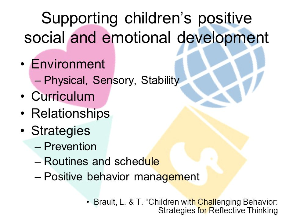 Environment –Physical, Sensory, Stability Curriculum Relationships Strategies –Prevention –Routines and schedule –Positive behavior management Brault, L.