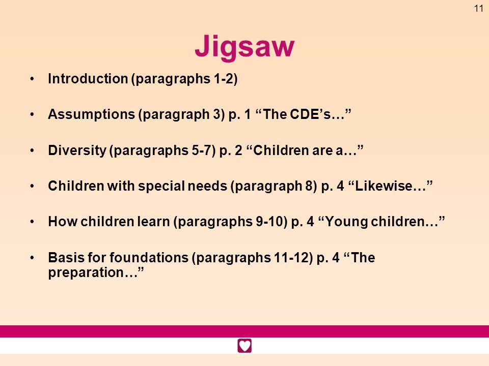11 Jigsaw Introduction (paragraphs 1-2) Assumptions (paragraph 3) p. 1 The CDEs… Diversity (paragraphs 5-7) p. 2 Children are a… Children with special