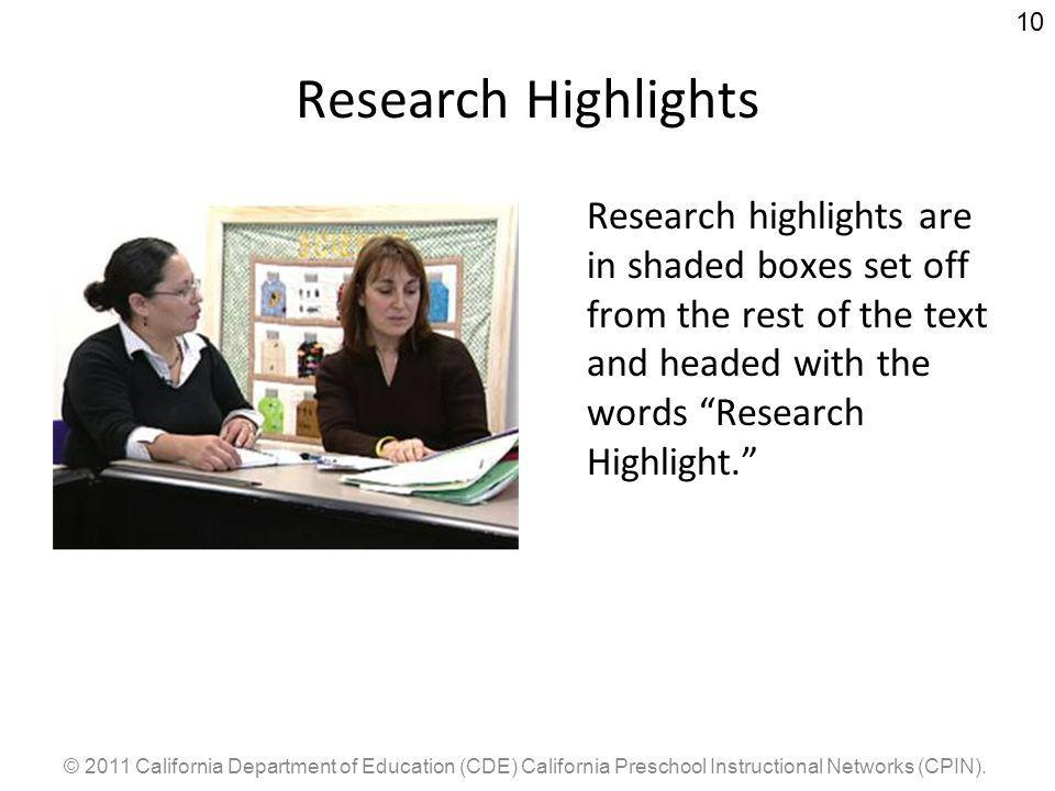 © 2011 California Department of Education (CDE) California Preschool Instructional Networks (CPIN).