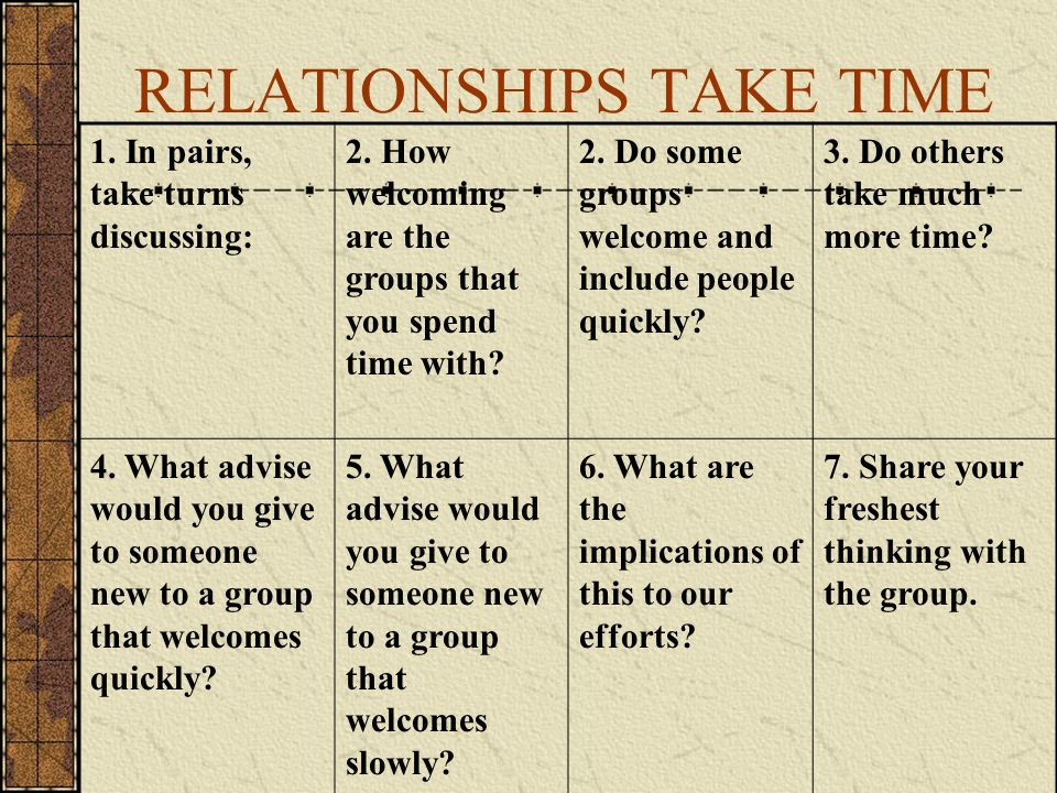 RELATIONSHIPS TAKE TIME 1. In pairs, take turns discussing: 2.