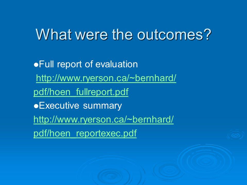 Full report of evaluation http://www.ryerson.ca/~bernhard/ pdf/hoen_fullreport.pdf Executive summary http://www.ryerson.ca/~bernhard/ pdf/hoen_reporte