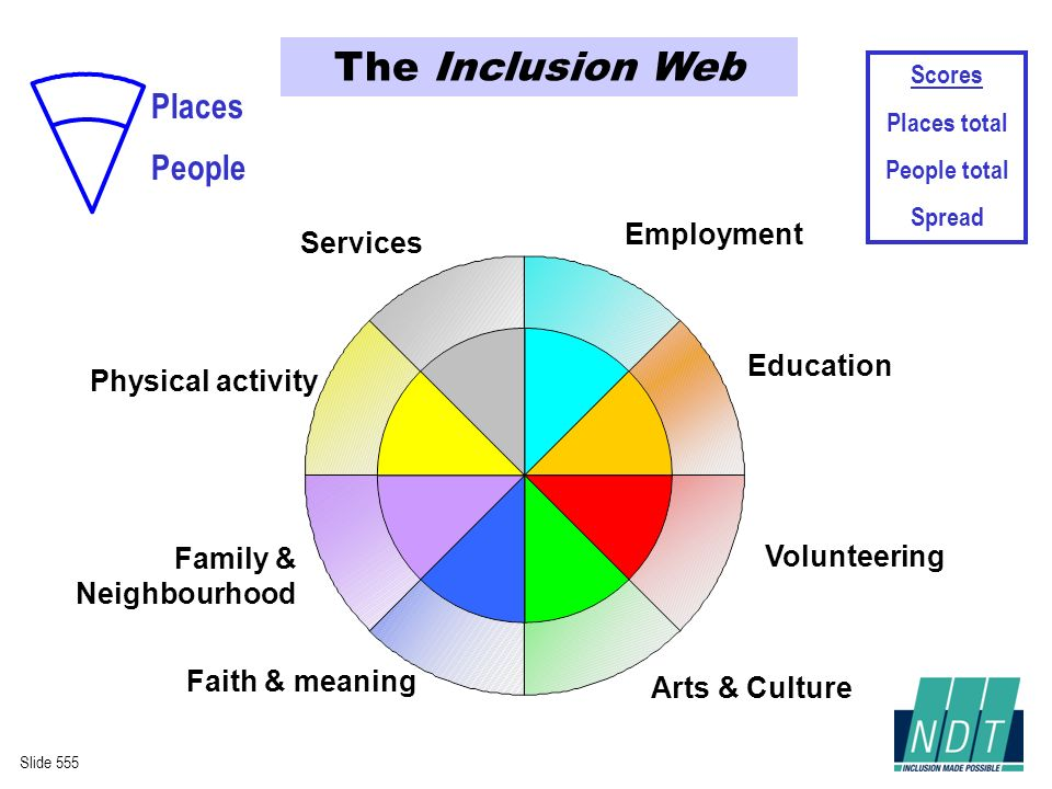 Employment Education Arts & Culture Faith & meaning Family & Neighbourhood Services Volunteering Physical activity The Inclusion Web Slide 555 People Places Scores Places total People total Spread