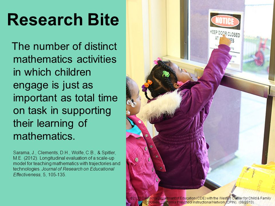 Research Bite The number of distinct mathematics activities in which children engage is just as important as total time on task in supporting their le
