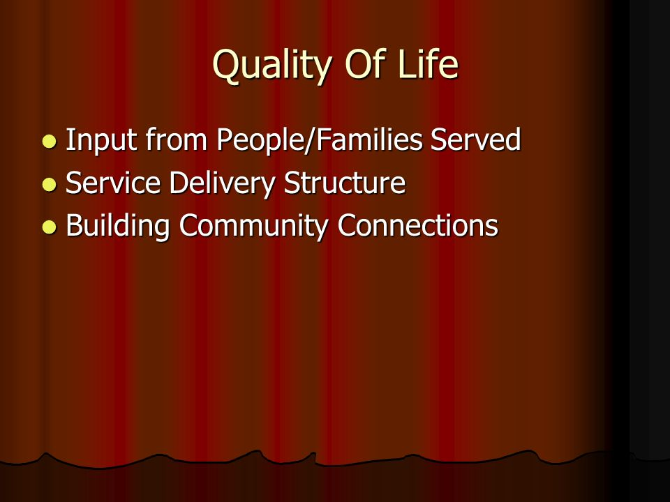 Quality Of Life Input from People/Families Served Input from People/Families Served Service Delivery Structure Service Delivery Structure Building Community Connections Building Community Connections