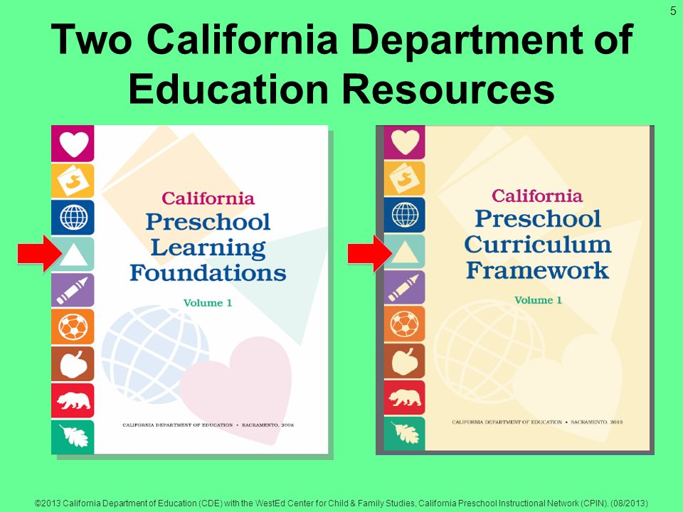5 ©2013 California Department of Education (CDE) with the WestEd Center for Child & Family Studies, California Preschool Instructional Network (CPIN).