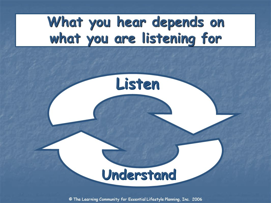 Understand What you hear depends on what you are listening for Listen © The Learning Community for Essential Lifestyle Planning, Inc. 2006