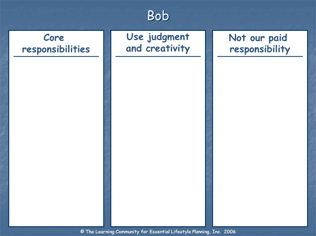 Bob Not our paid responsibility Use judgment and creativity Core responsibilities © The Learning Community for Essential Lifestyle Planning, Inc. 2006