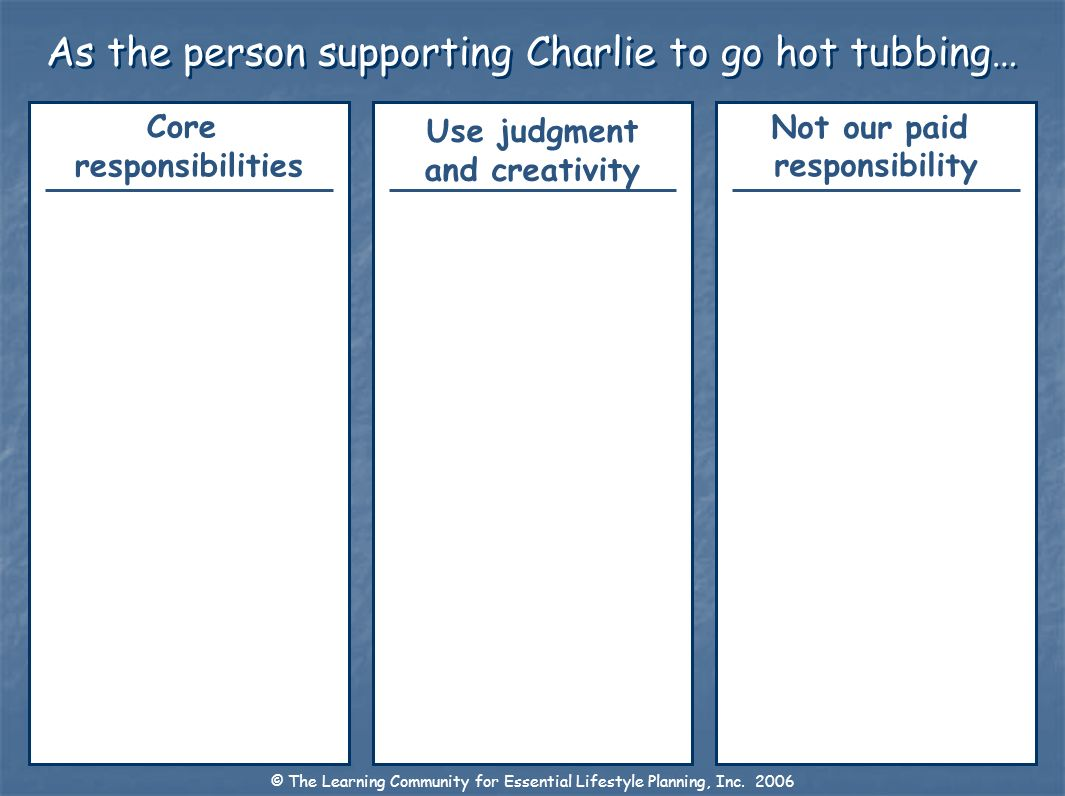 As the person supporting Charlie to go hot tubbing… Not our paid responsibility Use judgment and creativity Core responsibilities © The Learning Commu