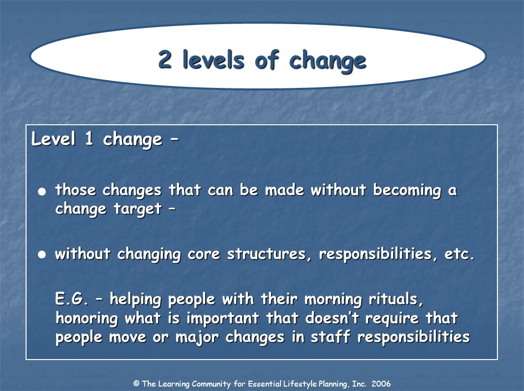 Level 1 change – those changes that can be made without becoming a change target – without changing core structures, responsibilities, etc. E.G. – hel
