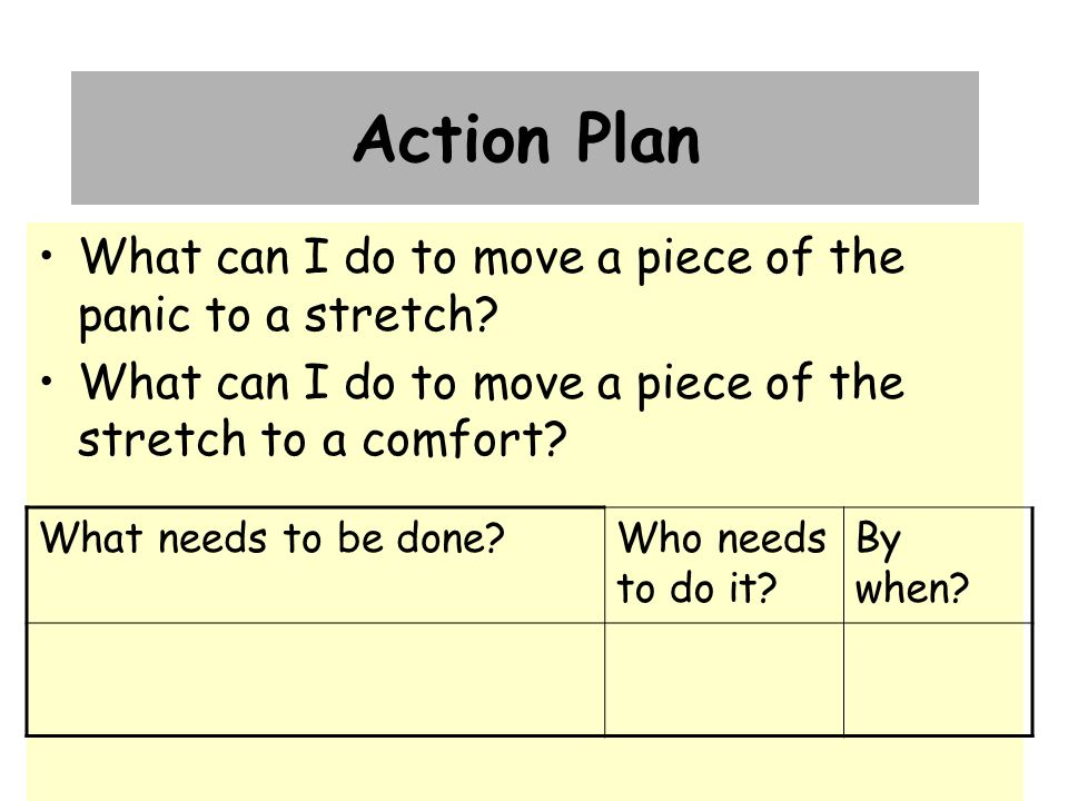 Action Plan What can I do to move a piece of the panic to a stretch.