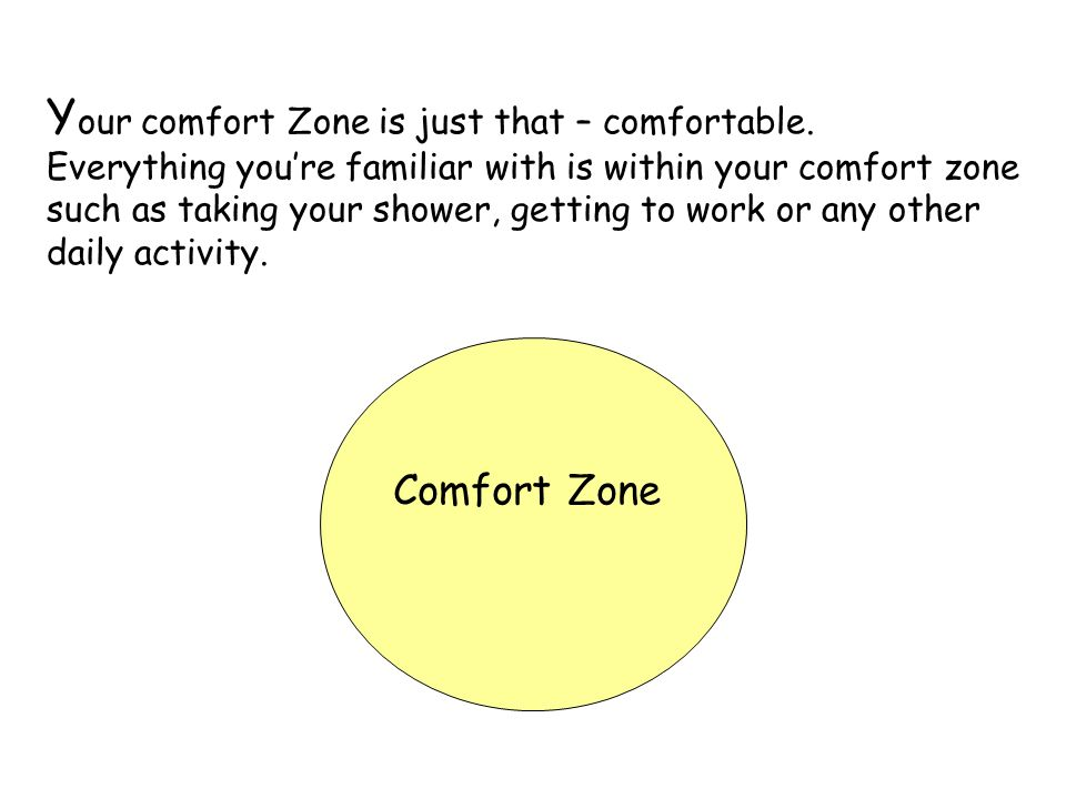 Y our comfort Zone is just that – comfortable.