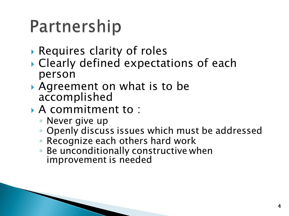 4 Requires clarity of roles Clearly defined expectations of each person Agreement on what is to be accomplished A commitment to : Never give up Openly discuss issues which must be addressed Recognize each others hard work Be unconditionally constructive when improvement is needed