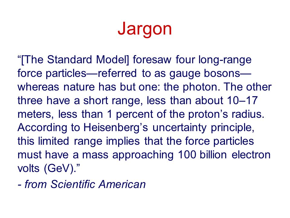 Jargon [The Standard Model] foresaw four long-range force particlesreferred to as gauge bosons whereas nature has but one: the photon.