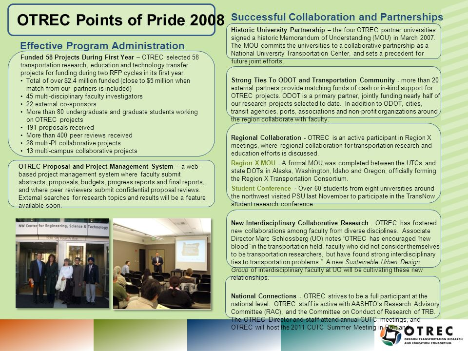 OTREC Points of Pride 2008 Podcasts – over 200 PSU Center for Transportation Studies seminars are available for download as audio files.
