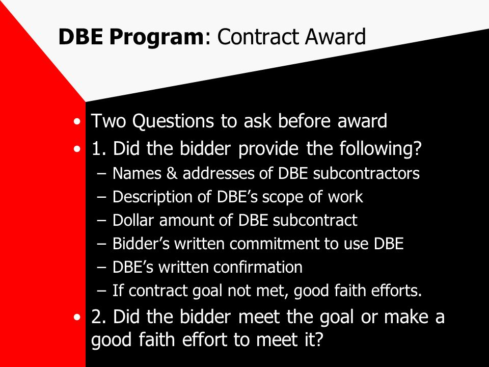 DBE Program: Bidders List Required Components.