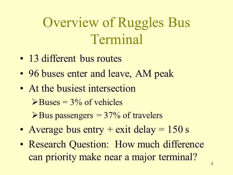 3 Overview of Ruggles Bus Terminal 13 different bus routes 96 buses enter and leave, AM peak At the busiest intersection Buses = 3% of vehicles Bus passengers = 37% of travelers Average bus entry + exit delay = 150 s Research Question: How much difference can priority make near a major terminal