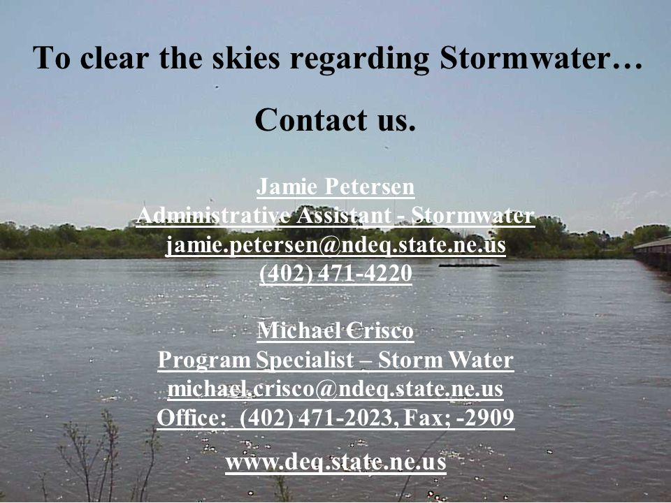 To clear the skies regarding Stormwater… Contact us.