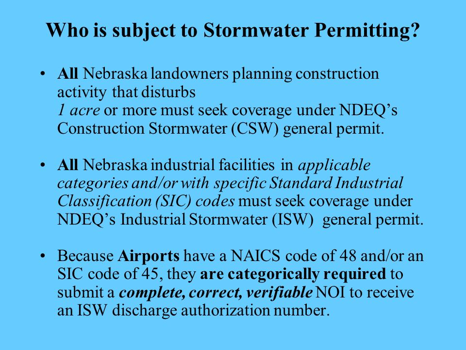 Who is subject to Stormwater Permitting.
