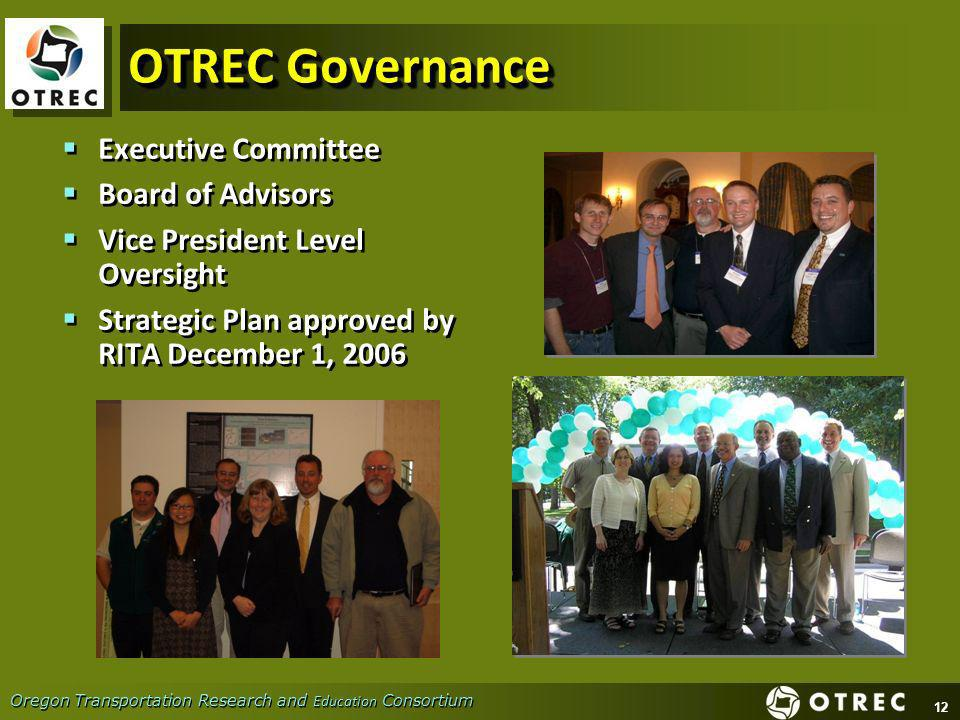 12 Oregon Transportation Research and Education Consortium OTREC Governance Executive Committee Board of Advisors Vice President Level Oversight Strategic Plan approved by RITA December 1, 2006 Executive Committee Board of Advisors Vice President Level Oversight Strategic Plan approved by RITA December 1, 2006