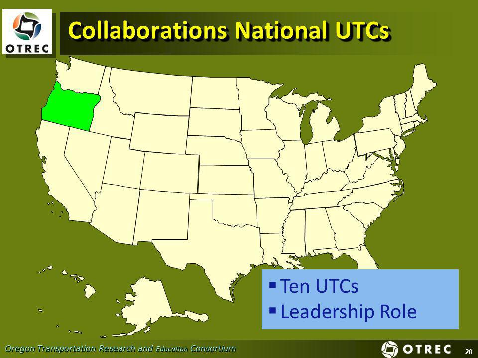 20 Oregon Transportation Research and Education Consortium Collaborations National UTCs Ten UTCs Leadership Role