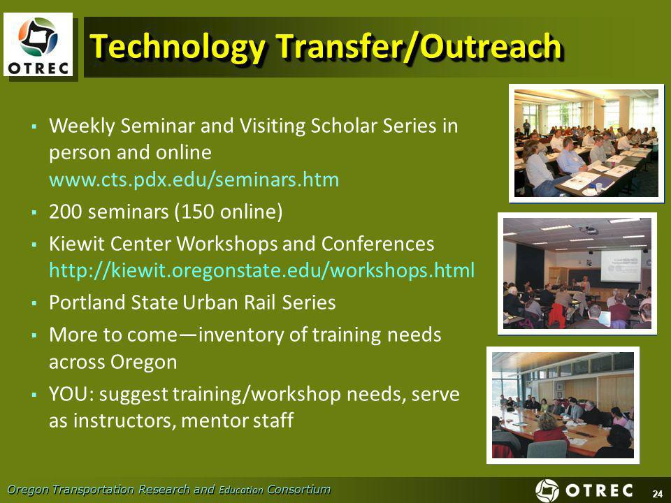 24 Oregon Transportation Research and Education Consortium Technology Transfer/Outreach Weekly Seminar and Visiting Scholar Series in person and onlin