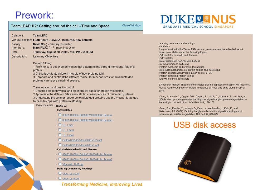 Prework: USB disk access Transforming Medicine, Improving Lives