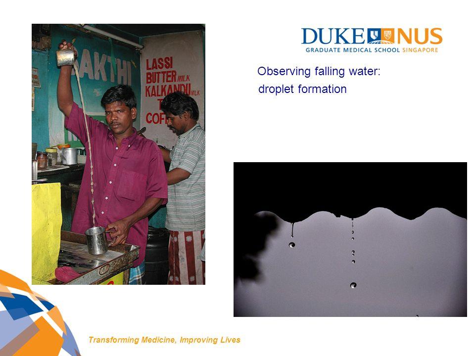 droplet formation Transforming Medicine, Improving Lives Observing falling water: