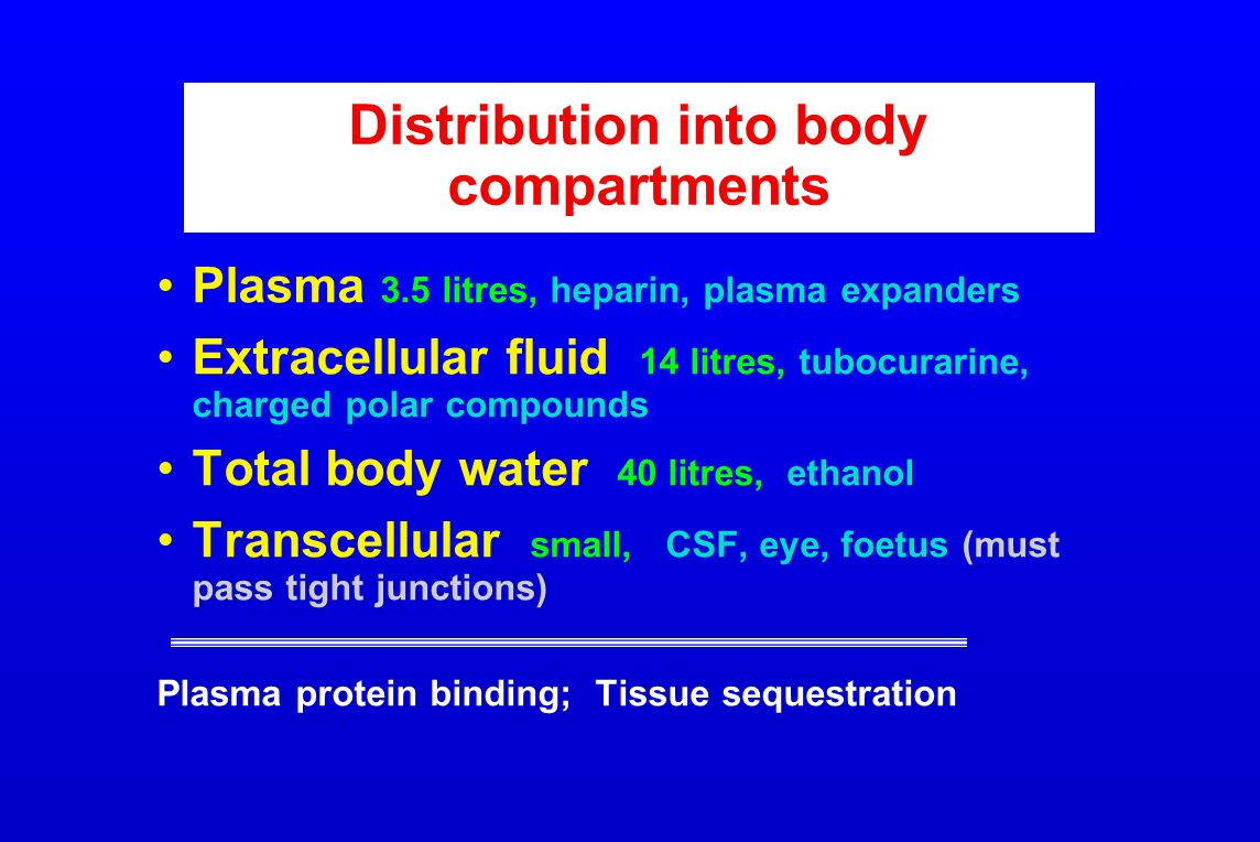 Distribution into body compartments Plasma 3.5 litres, heparin, plasma expanders Extracellular fluid 14 litres, tubocurarine, charged polar compounds