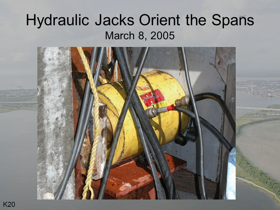 Hydraulic Jacks Orient the Spans March 8, 2005 K20