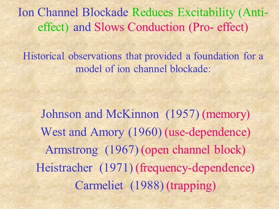 Ion Channel Blockade Reduces Excitability (Anti- effect) and Slows Conduction (Pro- effect) Historical observations that provided a foundation for a model of ion channel blockade: Johnson and McKinnon (1957) (memory) West and Amory (1960) (use-dependence) Armstrong (1967) (open channel block) Heistracher (1971) (frequency-dependence) Carmeliet (1988) (trapping)