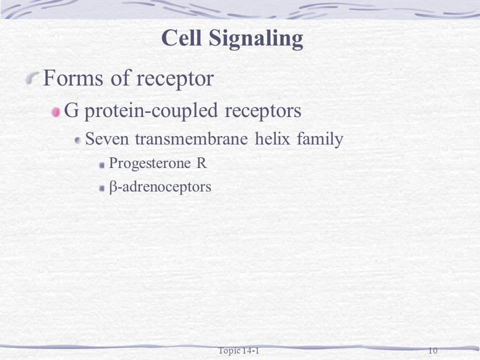Topic 14-110 Forms of receptor G protein-coupled receptors Seven transmembrane helix family Progesterone R -adrenoceptors Cell Signaling