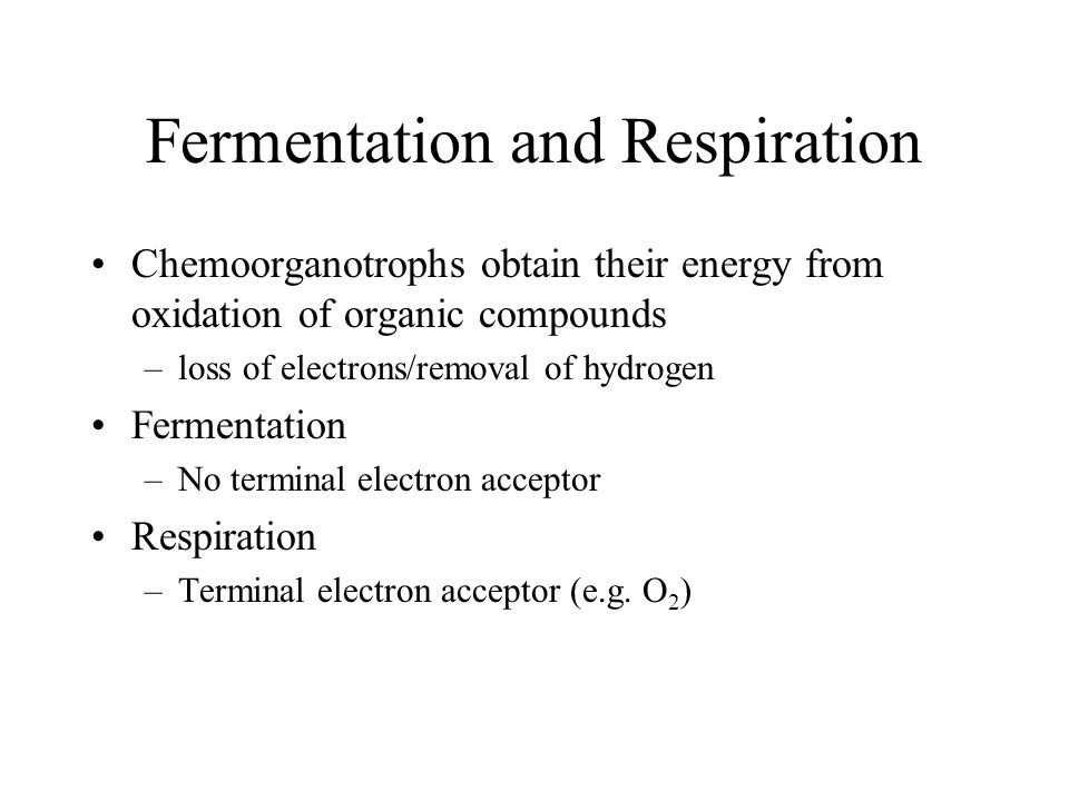 Fermentation and Respiration Chemoorganotrophs obtain their energy from oxidation of organic compounds –loss of electrons/removal of hydrogen Fermenta