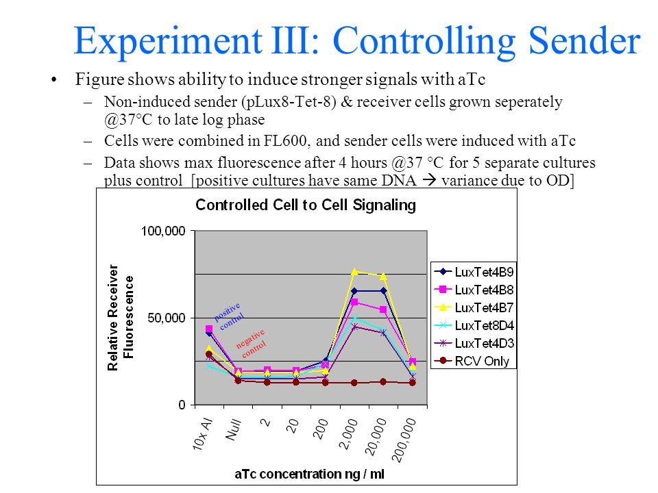 Experiment III: Controlling Sender Figure shows ability to induce stronger signals with aTc –Non-induced sender (pLux8-Tet-8) & receiver cells grown seperately @37°C to late log phase –Cells were combined in FL600, and sender cells were induced with aTc –Data shows max fluorescence after 4 hours @37 °C for 5 separate cultures plus control [positive cultures have same DNA variance due to OD] positive control negative control