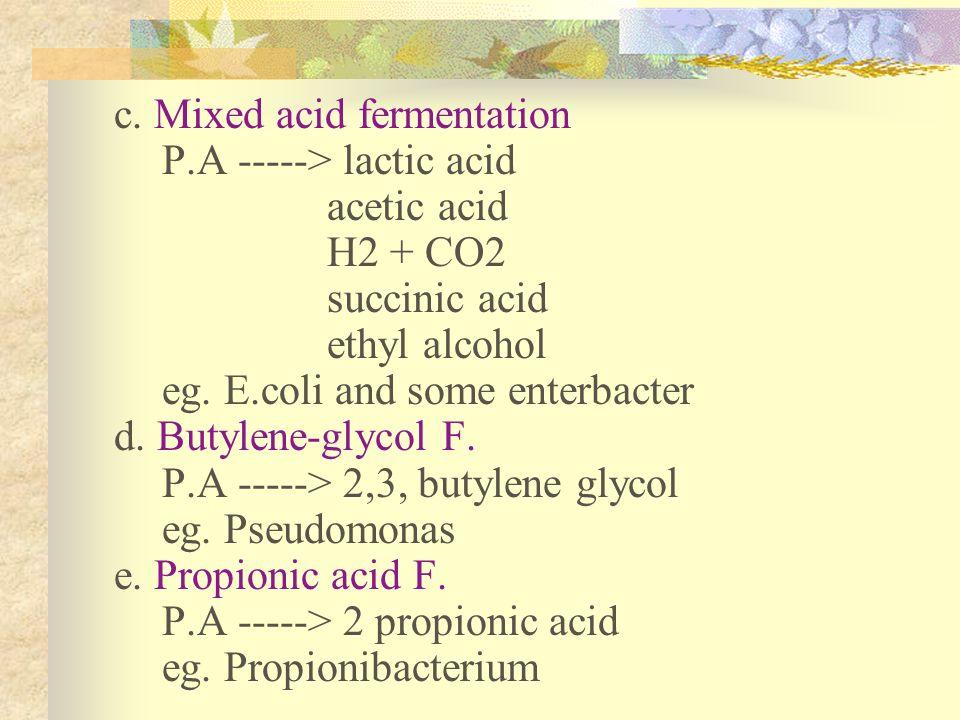 c. Mixed acid fermentation P.A -----> lactic acid acetic acid H2 + CO2 succinic acid ethyl alcohol eg. E.coli and some enterbacter d. Butylene-glycol