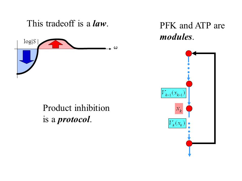 Product inhibition is a protocol. log|S | This tradeoff is a law. PFK and ATP are modules.