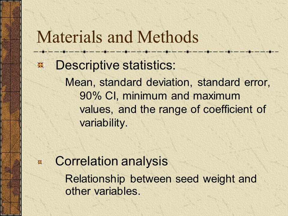 Materials and Methods Descriptive statistics: Mean, standard deviation, standard error, 90% CI, minimum and maximum values, and the range of coefficie