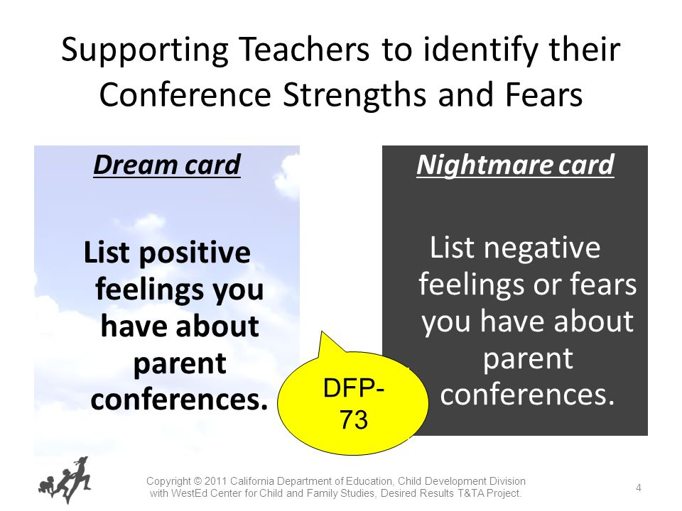4 Supporting Teachers to identify their Conference Strengths and Fears Dream card List positive feelings you have about parent conferences.