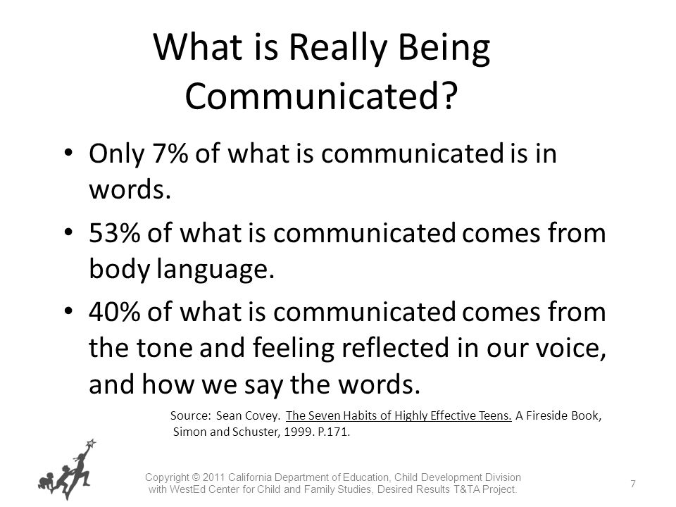 7 What is Really Being Communicated. Only 7% of what is communicated is in words.