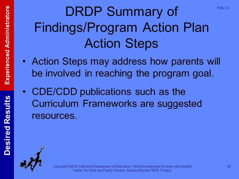 Copyright ©2012 California Department of Education, Child Development Division with WestEd Center for Child and Family Studies, Desired Results T&TA P