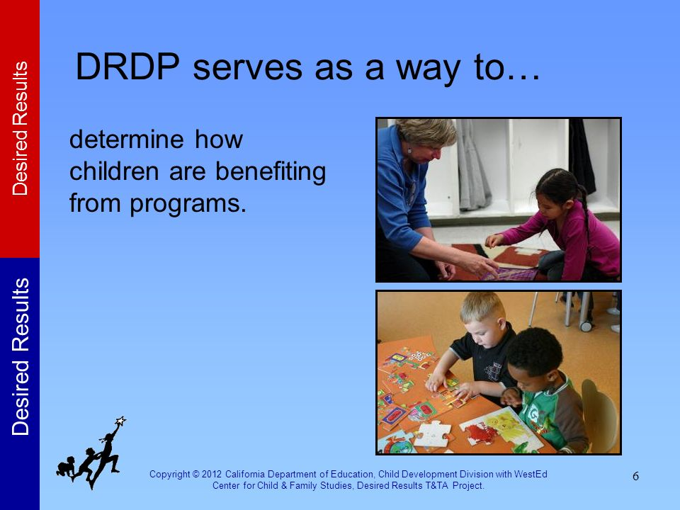 Copyright © 2012 California Department of Education, Child Development Division with WestEd Center for Child & Family Studies, Desired Results T&TA Pr