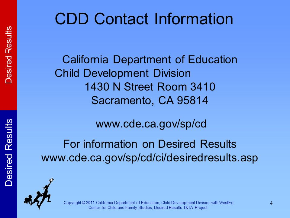 Copyright © 2011 California Department of Education, Child Development Division with WestEd Center for Child and Family Studies, Desired Results T&TA Project.