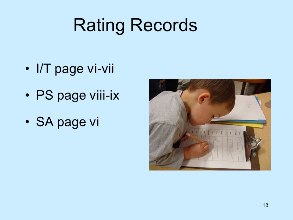 18 Rating Records I/T page vi-vii PS page viii-ix SA page vi